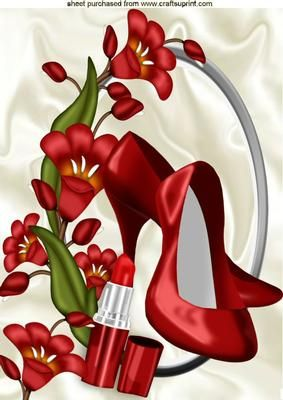 PRETTY RED FLOWERS WITH RED SHOES LIPPY A4 on Craftsuprint - Add To Basket!