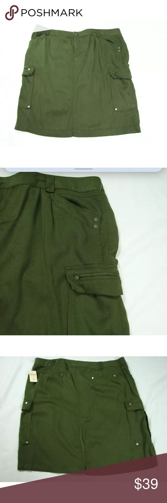 Coldwater Creek Pencil Skirt Cargo Pocket Army NEW Coldwater Creek Cargo Pocket Pencil Skirt    Army Green    Size 20   Retail $79.95  BIN6 Coldwater Creek Skirts Pencil