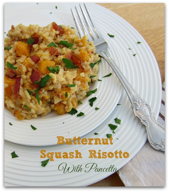 Butternut Squash Risotto With Pancetta ~  divinely creamy and the perfect treat. It's made with tender butternut squash, parmigiano reggiano, pumpkin oil and complemented by crisply cooked pancetta.