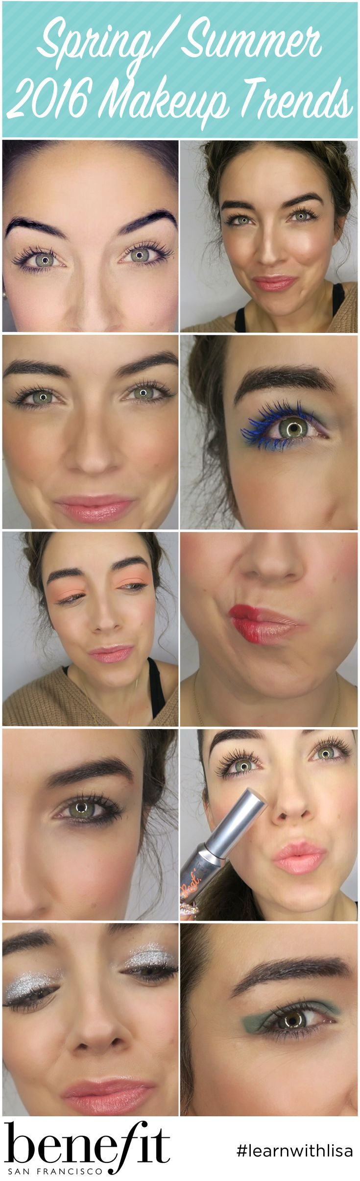 We are so excited for Spring/ Summer with these makeup trends! 1/ bold brows 2/ Modern Mermaid 3/ Sun Stripping 4/ Blue Eyes 5/ Sunset Eyes 6/ The lip Debate 7/ 90's Liner 8/ Beyond Lashes 9/ Glitter Eyes 10/ Colour Block Eyes