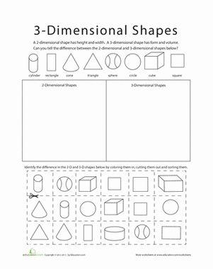 sort 2d and 3d shapes dimensional shapes shapes worksheets and kindergarten. Black Bedroom Furniture Sets. Home Design Ideas