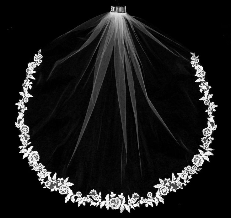 Lovely Beaded Floral Lace Edge Long Fingertip Length Wedding Veil - Affordable Elegance Bridal -