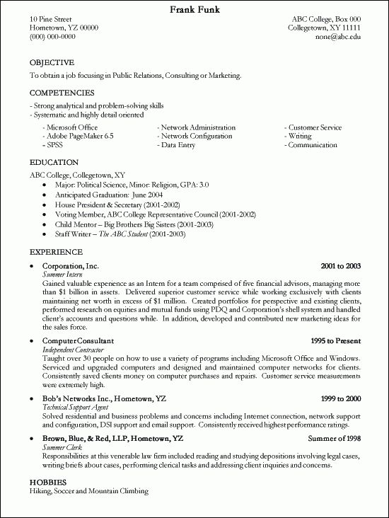 20 best Résumé images on Pinterest Sample resume, Resume format - hobbies in resume