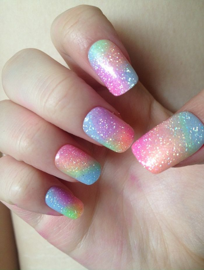 nageldesign frühling bunte ideen mit glanz (Beauty Nails Sparkle)