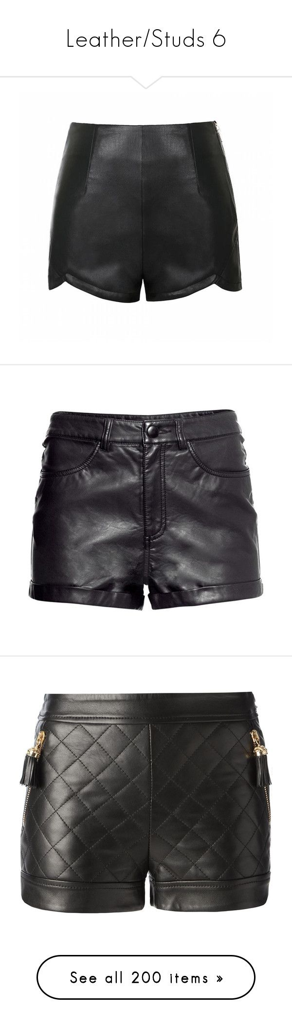 """""""Leather/Studs 6"""" by cecilia-acosta ❤ liked on Polyvore featuring shorts, bottoms, short, pants, black, high waisted short shorts, leather look shorts, high rise shorts, highwaist shorts and high waisted faux leather shorts"""