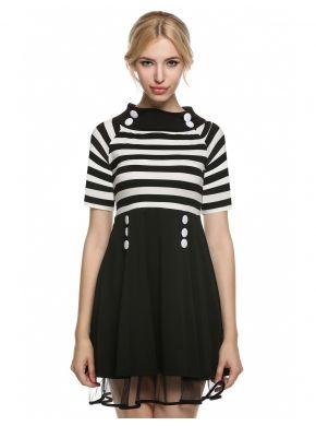 Siyah ACEVOG Kadın Vintage Stil A-line Kısa Kollu Günlük Elbiseler