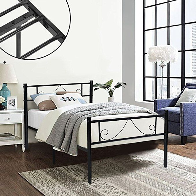 Green Forest Twin Bed Frame Metal Platform With Stable Metal Slats