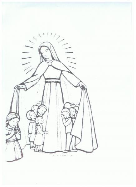 Coloriage marie et les enfants avec marie les enfants du monde prient pour la paix et les - Coloriage catholique ...