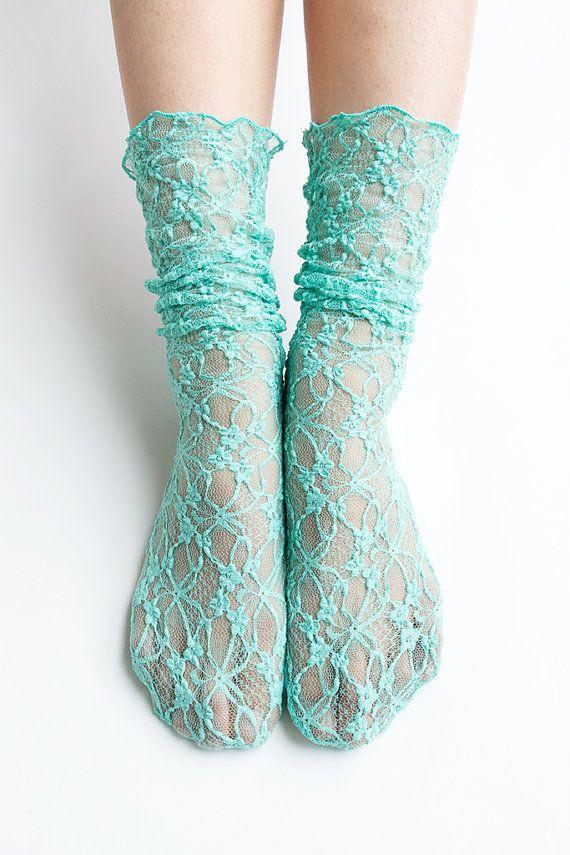 Women New Hezwagarcia Nylon Spandex Floral Mesh Sheer Lace Mint Blue Ankle Nylon Wedding Loose Socks Hosiery