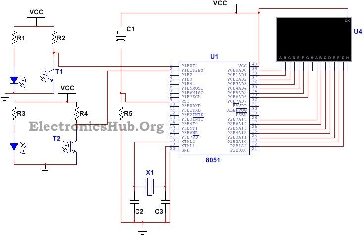 This Bidrectional Visitor Counter Circuit using AT89C51 is helpful to count the number of persons entering or leaving a room and to display it on a screen.