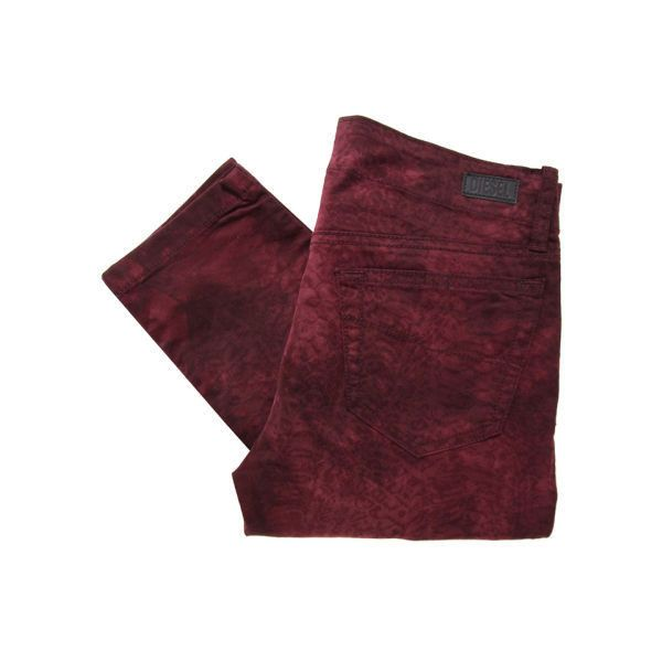 Diesel Women's Grupee Jeans - Burgundy ($94) ❤ liked on Polyvore featuring jeans, pants, bottoms, burgundy, snake print skinny jeans, leather jeans, slim skinny jeans, diesel jeans and super skinny jeans