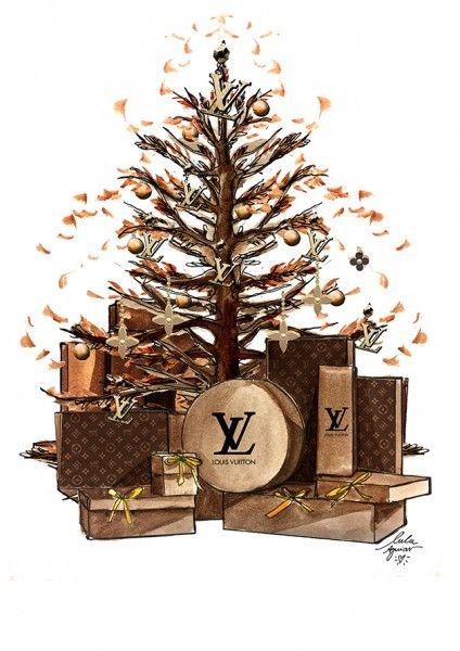 Da Louis Vuitton é uma árvore no outono, mais castanha, tipo a cor do couro utilizado nos acessórios clássicos dela, cheios de monograma