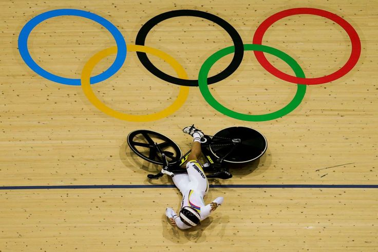Crash:    Martha Bayona Pineda of Colombia falls during the second round of the women's keirin cycling event at the Rio Olympic Velodrome on Aug. 13.