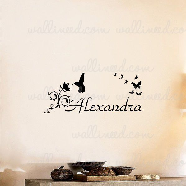 Personalized Custom Name Hummingbird Flowers Sticker Wall Decal
