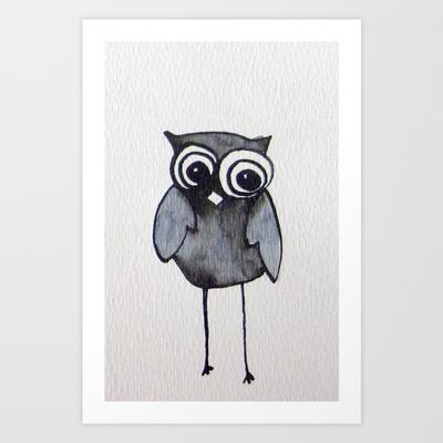 The Friendly Owl Art Print by Jen Posford - $16.00