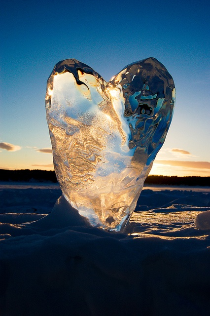 Love in the ice...An Ice sculpture photographed outside the Ice Hotel In Jukkasjärvi, Sweden. Photo: Andrew Gorman