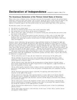 declaration of independence worksheet