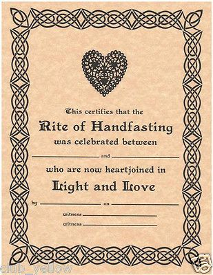 Handfasting Certificate Wedding Marriage Wicca Pagan Hand Fasting BOS Page printable