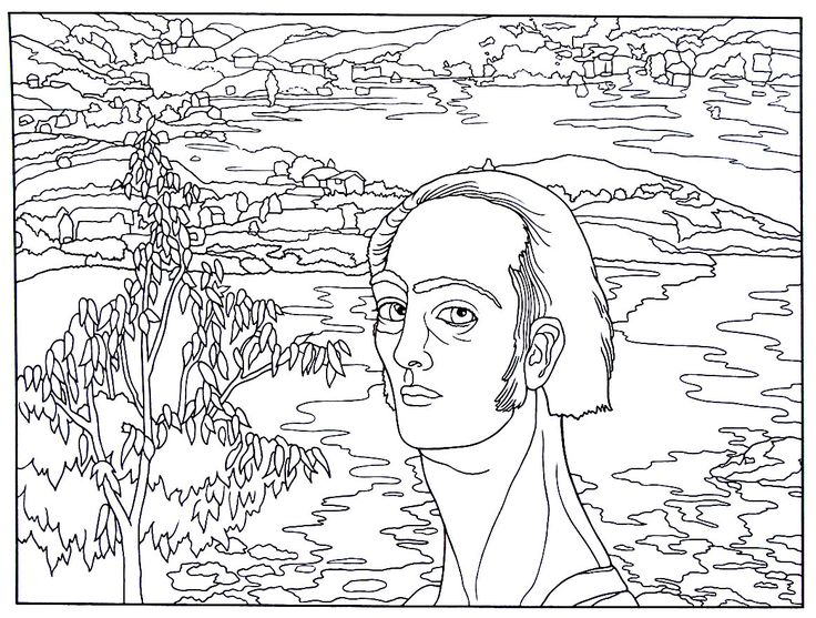 Self Portrait With Raphaelesque Neck Painting By Salvador Dali Printable Coloring Book Page
