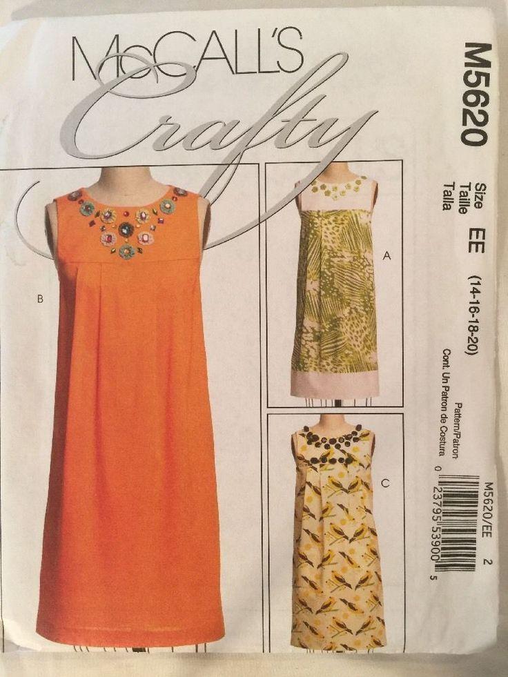 McCall's Crafty Sleeveless Summer Shift Dress Pattern M5620 EE Sz 14-20  | eBay