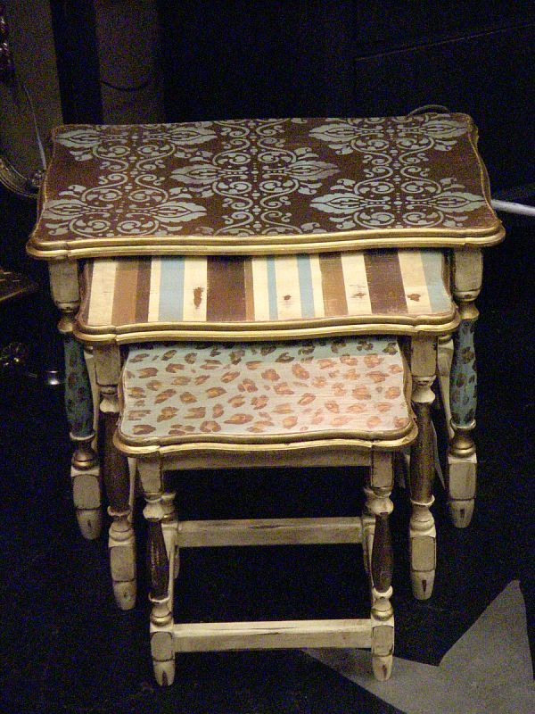painted end tables- I have these - maybe I will do something similar in my living room