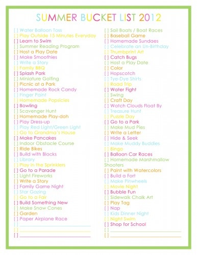 *76 Activities for Kids - SUMMER BUCKET LIST 2012*  ...this will be something great to keep up w/ over the summer. More than just a printable - check it out!!!