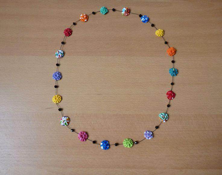 LovCraftShop - fuxico necklace (handmade yo-yo necklace with crystals)