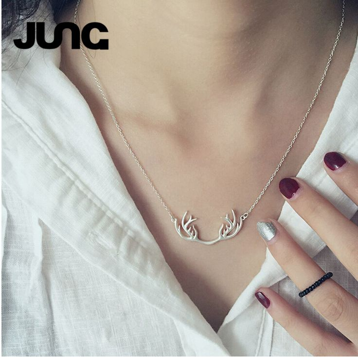 2016 Hot Sale Design Sterling Silver 925 Necklace Deer Antler Pendant Necklace Christmas Jewelry Gift Free Shipping