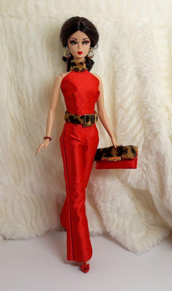 21fd977539d6 Handmade Red Silk Leopard Fur Outfit Dress Bag Jewelry For Barbie Silkstone  Doll #Sitar_Large_Super_Rich