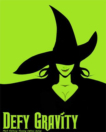 "Just want the words ""defy gravity"" wicked the musical tattoo"
