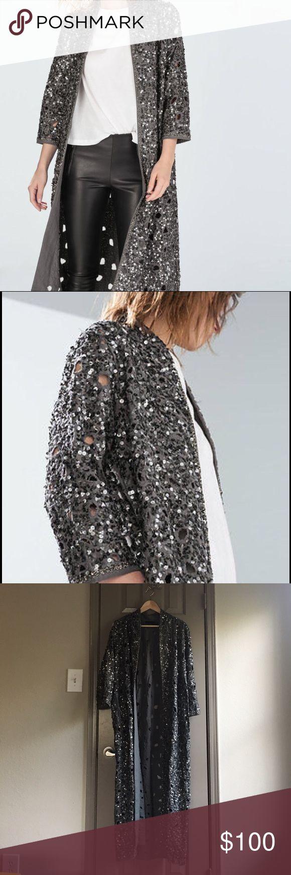 Zara long sequined coat never worn Perfect for this holiday season Zara Jackets & Coats