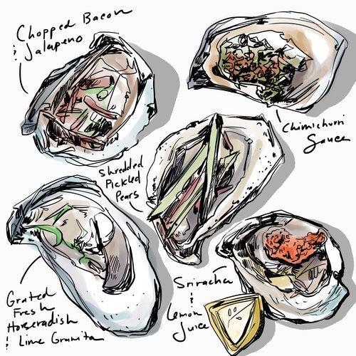 Oysters      Food Illustrator  Food Illustration  Amber Day    OllieHarperStudio.com