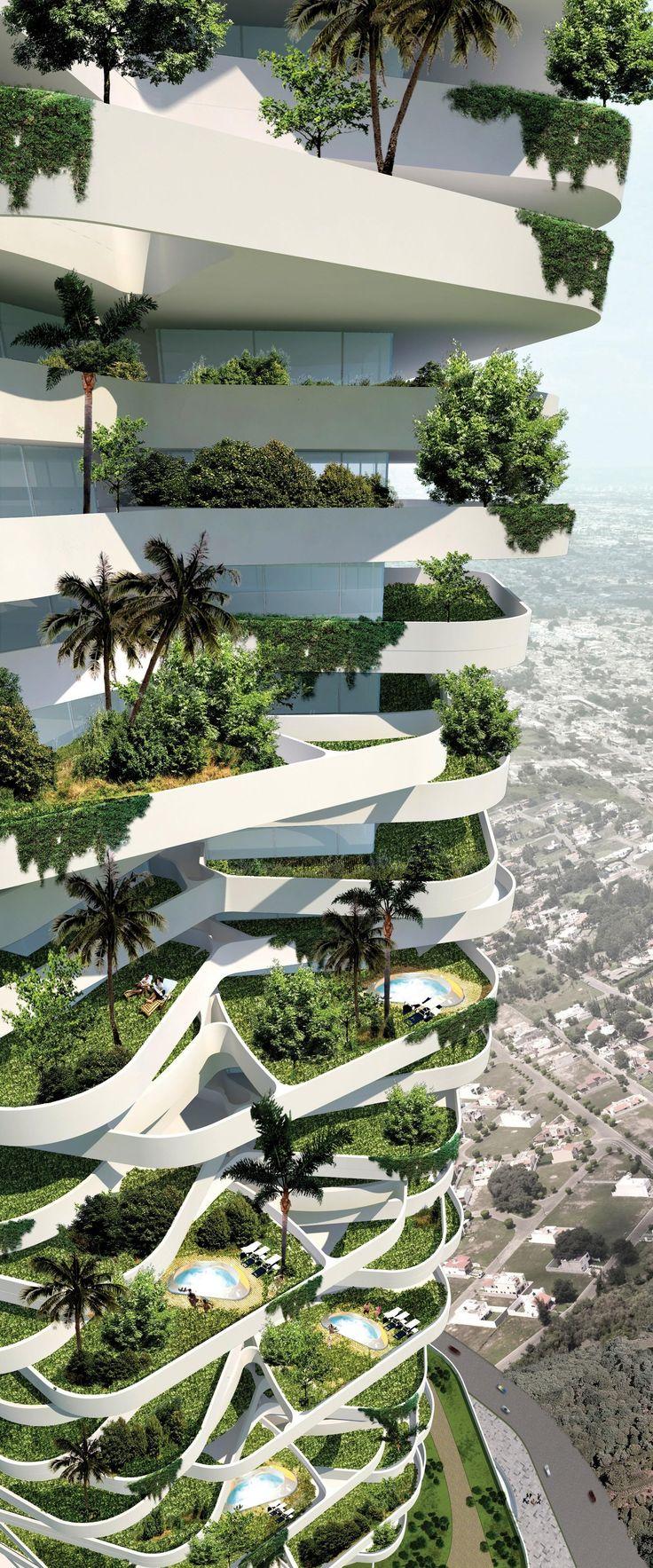 Keeping the city green, 21st century style. High rise. Skyscraper. Urban garden. Green roof. Environment. Environmentalist. Architecture. Modern architecture. Modern living. Green city. Modern city.