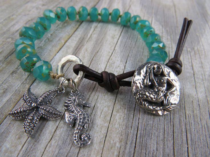 Mermaid bracelet, Emerald beaded bracelet,Leather beaded bracelet, starfish bracelet, beach jewelry, boho, bohemian by WynnesWhimsies on Etsy https://www.etsy.com/listing/168284573/mermaid-bracelet-emerald-beaded