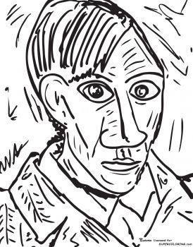 Self Portrait 1907 By Pablo Picasso free printable coloring page