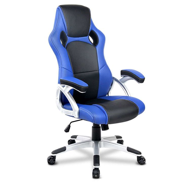 PU Leather Sporty Padded Gas Lift Swivel Armrest Racing Office Chair Black Blue