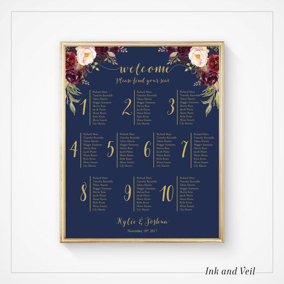 Navy Gold Wedding Seating Chart, Floral Marsala Blush Wedding Seating Plan, Printable Seating Plan, Table Plan Poster, Reception- Kacey
