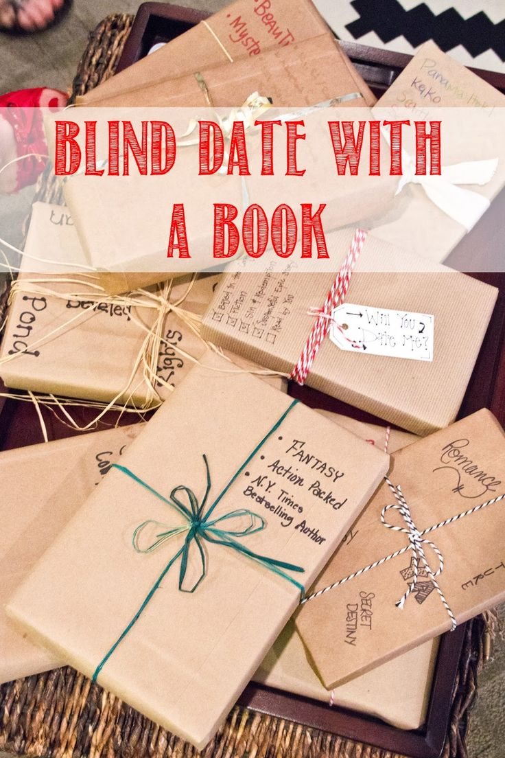 """Blind Date with a book - So, we each choose a book off of our shelves that we enjoyed and wrapped it in brown paper, tied it up with string, and wrote 3-5 """"hints"""" on the paper of what our mystery book was about!"""
