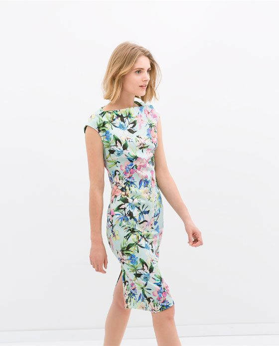 46d6ae0b Image 4 of BOAT NECK PRINTED DRESS from Zara $99.90 | Want/Need | Floral  chiffon dress, Fashion outfits, Fashion