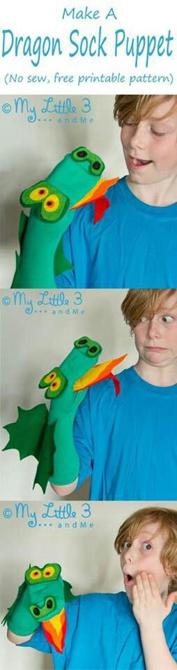Dragon sock puppet http://mylittle3andme.co.uk/st-georges-day-dragon-sock-puppet-free-pattern/