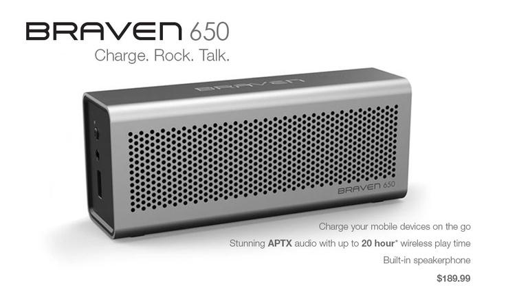 Braven Braven 650 Portable Wireless Speaker/Charger/Speakerphone. Silver aluminum finish with Black end caps. 2000mA battery. BZ650SBA 10817729010107 650