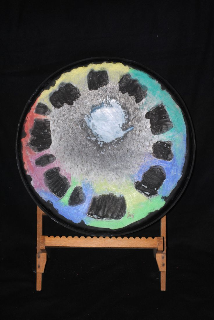 Drum skin art object. Made during listening music