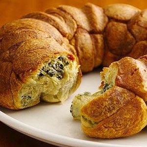 Pull apart bread with spinach inside