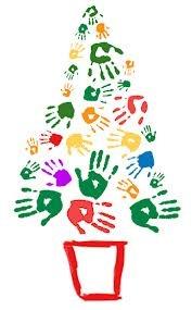 Mural de navidad.  Los alumnos con la huella de su mano y la pintura de colores realizarán la forma del árbol.