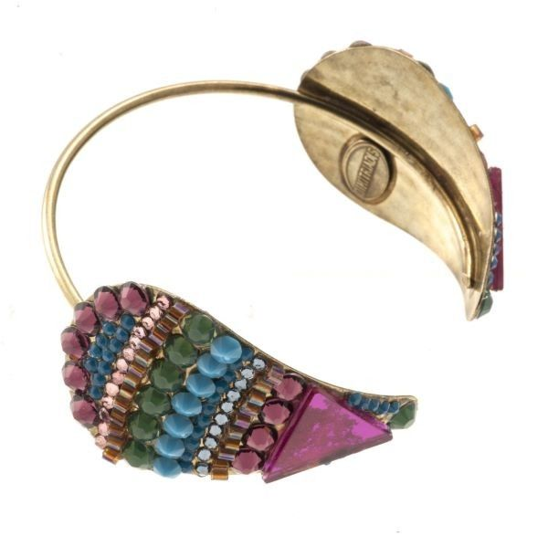 """Jorrie"" - Handmade bronze metal plated bracelet with Swarovski strasses and beads, by Art Wear Dimitriadis"