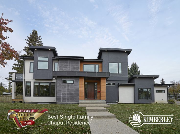 Chaput Residence in Crestwood. Kimberley CustomBuilt Awards of Excellence Finalist 2015 http://buildwithkimberley.ca/homes/full-infills-and-acreages/ #buildwithkimberley #kimberleyhomesYEG #modernexterior #awardsofexcellence