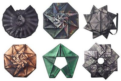 "Japanese fashion innovator  Issey Miyake and his R&D design group, the Reality Lab, have created a line of eco-conscious ""origami clothing"" made from recycled PET fabric. Each garment is made from a single piece of fabric, which is folded flat into one of ten basic collapsible patterns."