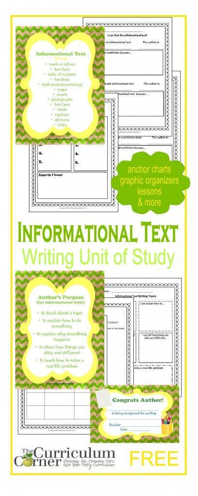 Informational Text: Writing Unit of Study FREE from The Curriculum Corner