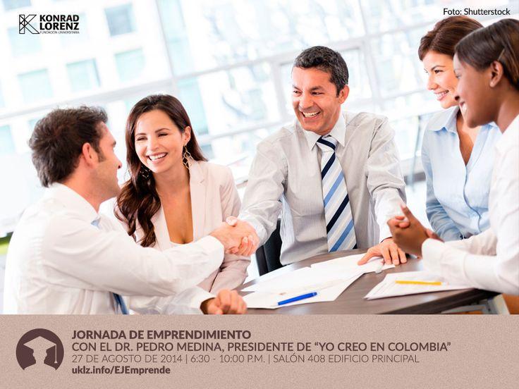 La Oficina de Egresados invita a su Jornada de Emprendimiento este 27 de agosto de 6 a 10:00 p.m. que contará con la presencia del Dr. Pedro Medina, Presidente de Yo Creo en Colombia, entre otros invitados que hablarán sobre emprendimiento, formas de iniciar nuevos proyectos en nuestro país y todos los desafíos que enfrentan los profesionales.   Regístrese y asista al evento: http://uklz.info/EJEmprende