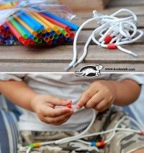 a simple but effect idea, cut straws up and provide shoe laces for threading.  Great for patterning and fine motor skills.